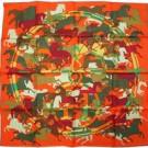 エルメスのアパレル エルメス スカーフ シルク 90×90 オレンジ