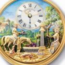 美術品の骨董品・美術品 リュージュ からくり エナメル 懐中時計