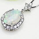 オパールの宝石 オパール K18WG ダイヤモンド ネックレス