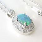 オパールの宝石 ブラックオパール K18WG ネックレス