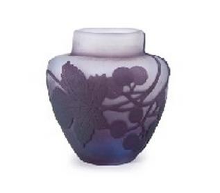 エミール・ガレ 葡萄文花瓶(茶入)