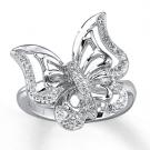 ダイヤモンドの宝石 バタフライ ダイヤモンド リング