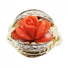 珊瑚の宝石 珊瑚 ダイヤモンド リング