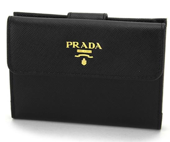 プラダ サフィアーノ メタル 二つ折り財布 ブラック 1M0523