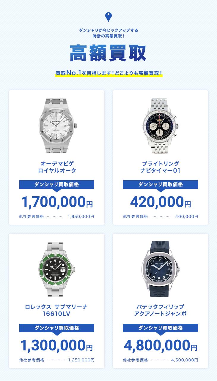 ダンシャリが今ピックアップする時計の高額買取!