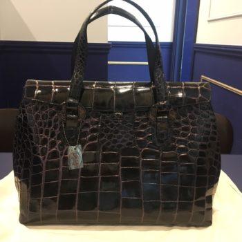 クロコダイル JRA シャイニー ブラック ハンドバッグ 買取価格30000円